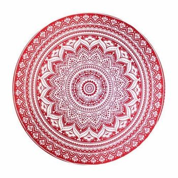 Nappe indienne Gwalior (Rouge) pour table ronde