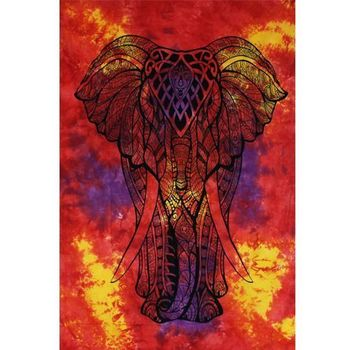 Tenture Elephant Indien (Orange Multi Violet)