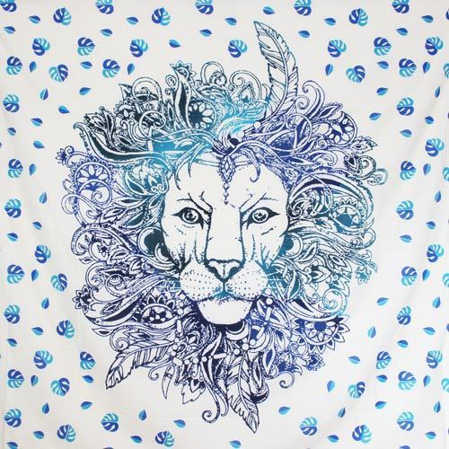 Tenture Feather Lion (Bleu) Grand Format