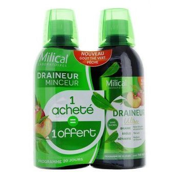 Milical Draineur Ultra Solution buvable thé vert pèche 2X 500ml