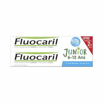Date courte 01/11/19 Fluocaril dentifrice Junior 6 à 12 ans Gel Bubble 2x75ml