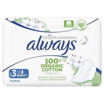 Always Serviettes Cotton Protection Night 9 unités