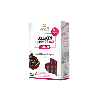 Date courte 08/20.Biocyte Collagen Express bar Anti-Age Chocolat Noir 6 barres