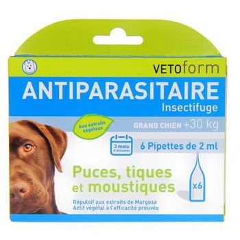 Vetoform Antiparasitaire insectifuge grand chien +30 kg 6 pipettes