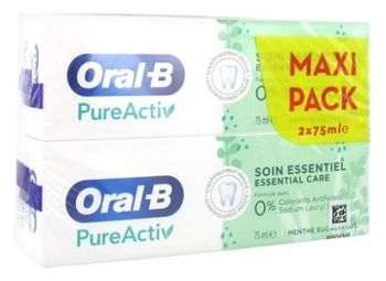 Oral-B Dentifrice PureActiv Soin Essentiel Lot de 2 x 75 ml