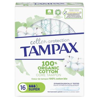 Tampax Cotton Protection Super 100% Coton Bio 16 Tampons