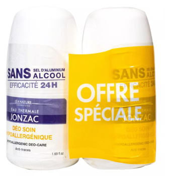Jonzac Déodorant soin haute tolérance anti traces 24h Roll on bio  lot 2 x 50ml