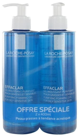 Effaclar Gel Moussant Purifiant Format Eco Lot de 2 x 400 ml