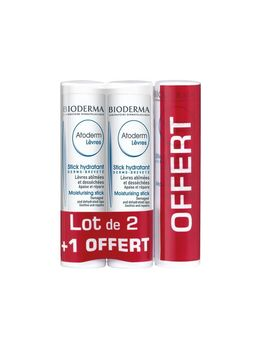 Bioderma Atoderm Lot de 2 Sticks Lèvres 4g + 1 Offert