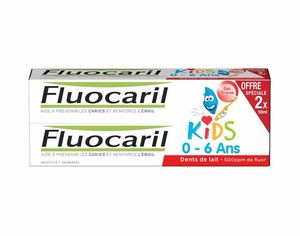 Fluocaril Dentifrice Kids 2 à 6 ans, Fraise, 2 tubes de 50ml