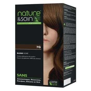 Coloration permanente. Couleur Blond doré 7G  Nature et Soin