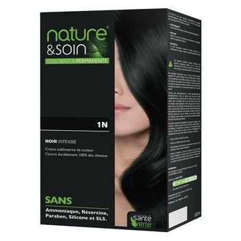 Coloration permanente. Couleur noir intense 1N Nature et Soin