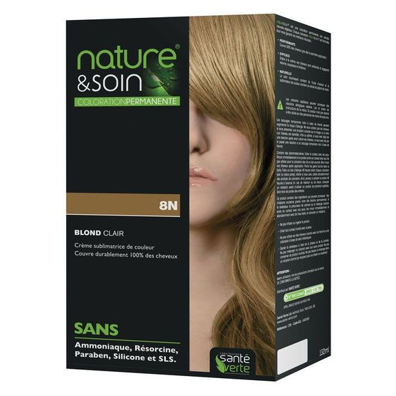 Coloration permanente. Couleur blond clair 8N Nature et Soin