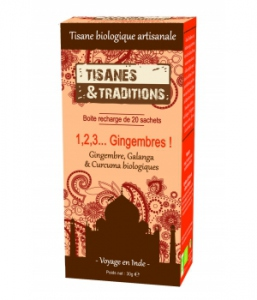 Tisanes Et Traditions 1, 2, 3 Gingembres 20 sachets BIO