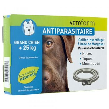 Vetoform Antiparasitaire Collier Insectifuge Grand Chien + 25 kg