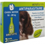 Vetoform Antiparasitaire 3 Pipettes Insectifuges chien moyen