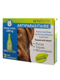 Vetoform Antiparasitaire 3 Pipettes Insectifuges grand Chien