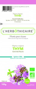 L'herbothicaire Thym Bio sommité fleurie 100g