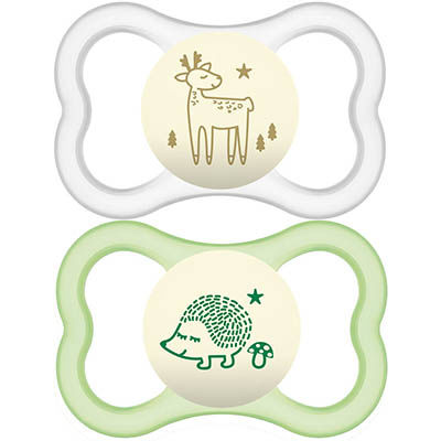 MAM Sucette Silicone Air Nuit +18mois x2 Rose Vert