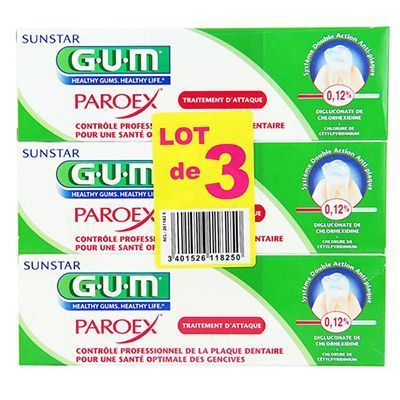 GUM Paroex Traitement d'Attaque Dentifrice Lot de 3 x 75ml