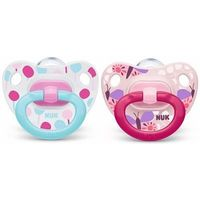 NUK 2 Sucettes Silicone Classic Fille Taille 1 0-6mois