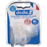 DODIE Tétine Silicone Initiation Col Large Débit 1 - Lot de 2
