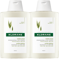 KLORANE Shampooing au Lait d'Avoine 400ml Lot de 2