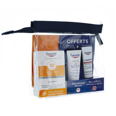 EUCERIN Sun Trousse Sensitive Protect 50+SPF 50ml + Mini Huile de Douche & Aquaphor