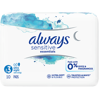 ALWAYS Sensitive Essentials Serviettes Taille 3 Ultra Night avec Ailettes x10