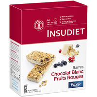 PILEJE Insudiet Barres Chocolat Blanc Fruits Rouges 6 portions