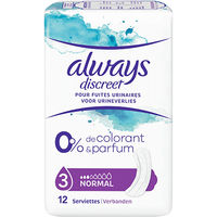 ALWAYS Discreet Serviettes Fuites Urinaires Normal x12