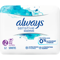 ALWAYS Sensitive Essentials Serviettes Taille 2 Ultra Long avec Ailettes x12