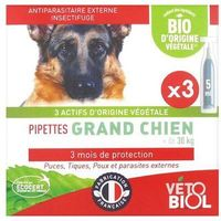 VETOBIOL Pipettes Antiparasitaires Grand Chien Bio 3x5ml