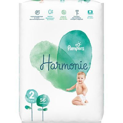 PAMPERS Harmonie Taille 2 (4-8kg) 56 couches