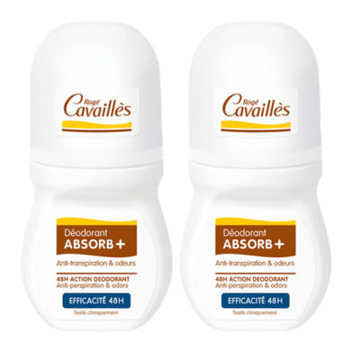 ROGE CAVAILLES Déodorant Absorb+ Efficacité 48h Roll-on 2x50ml