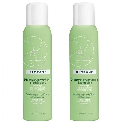KLORANE Déodorant Efficacité 24h à l'Althéa Blanc Spray Lot de 2 x 125ml