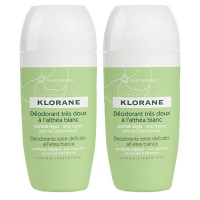 KLORANE Déodorant Très Doux à l'Althéa Blanc Roll-on Lot de 2 x 40ml