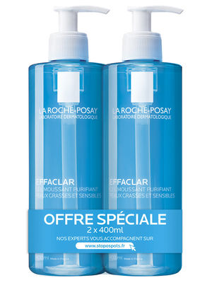 La Roche Posay Effaclar Gel Moussant - Lot de 2 x 400ml