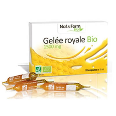 NAT & FORM Gelée Royale Bio 1500mg - 20 ampoules x 10ml