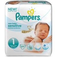 PAMPERS New Baby Sensitive 2-5kg Taille 1 - 21 couches