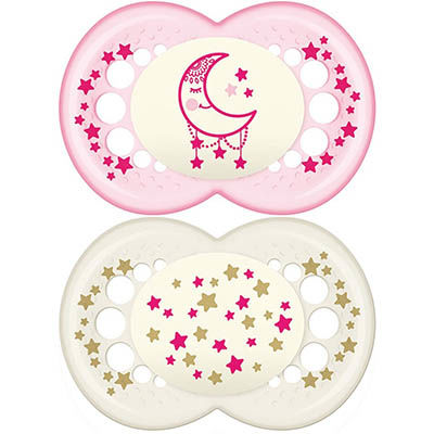 MAM Sucette Silicone Nuit +18mois Blanc Rose x2