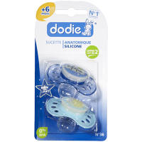 DODIE Sucette Anatomique Silicone Nuit +6mois x2