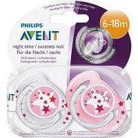 AVENT Sucette Nuit Silicone 6/18 mois Rose X2