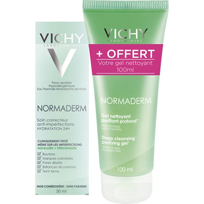 VICHY Normaderm Soin Embellisseur Anti-Imperfections 50ml + Gel Nettoyant 100ml OFFERT