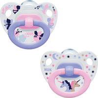 NUK 2 Sucettes Silicone Classic Fille Taille 3 +18mois
