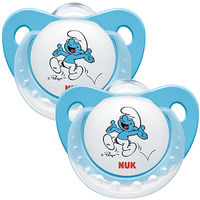 NUK 2 Sucettes Silicone Schtroumpfs Taille 3 +18mois