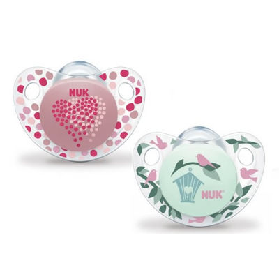 NUK 2 Sucettes Silicone Trendline Fille Taille 1 0-6mois