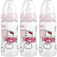 NUK First Choice+ Lot de 3 Biberons Hello Kitty 300ml Tétine Taille 2 +6mois