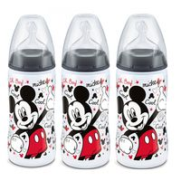 NUK First Choice+ Lot de 3 Biberons Mickey 300ml Tétine Taille 2 +6mois
