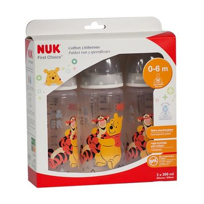 NUK First Choice+ Lot de 3 Biberons Winnie 300ml Tétine Taille 1 0-6mois